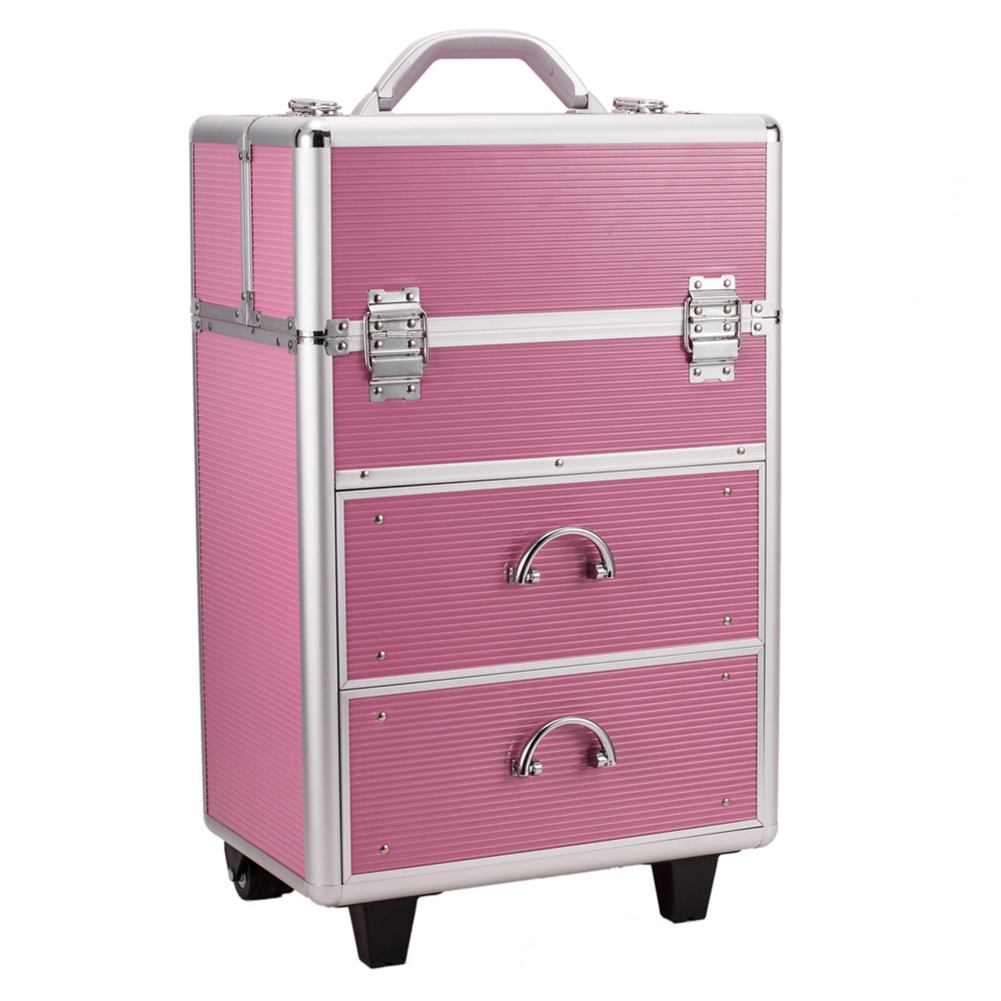 2019 Professional 4 Tier Lockable Pull-rod Cosmetic Storage Box Woman's Storage Case Cosmetic Makeup Cases For Travel