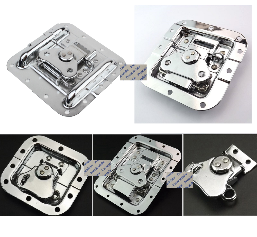 2Pcs/Lot Chrome Steel Road Flight Audio Case Tool Box Butterfly Hasp With Lock Hole Recessed Face Mount