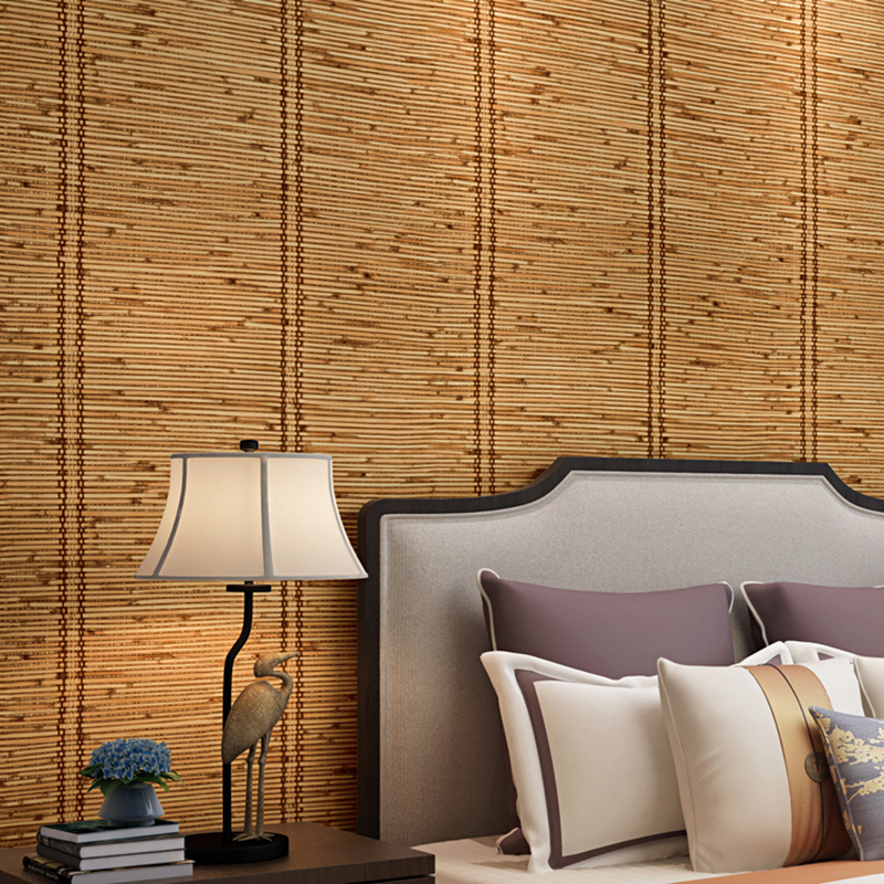 3D Imitation Bamboo Textured Wallpaper PVC Waterproof Embossed Wallpapers For Bedroom Living Room Study Room Wall Paper Rolls