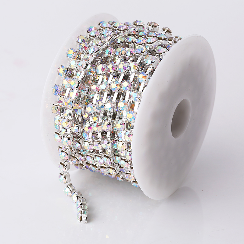 Image 3 - RESEN SS28 6mm 10yards/lot Crystal AB Rhinestone Chain Trim 28ss Glass Strass Trimming Yard Rhinestone Cup Chain Sliver MetalRhinestones   -