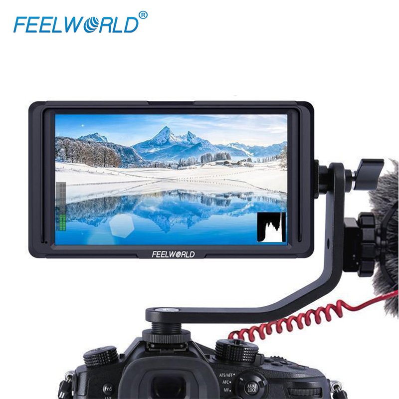 Feelworld 5 F6S 4K HDMI Field Monitor Full HD with Battery Kit On Camera for Nikon