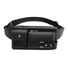 Men's Waist Packs Fanny Bum Bags For Phone Multipurpose Man PU Leather Travel Belt Bag Chest Bag Fashion Crossbody Shoulder Bag