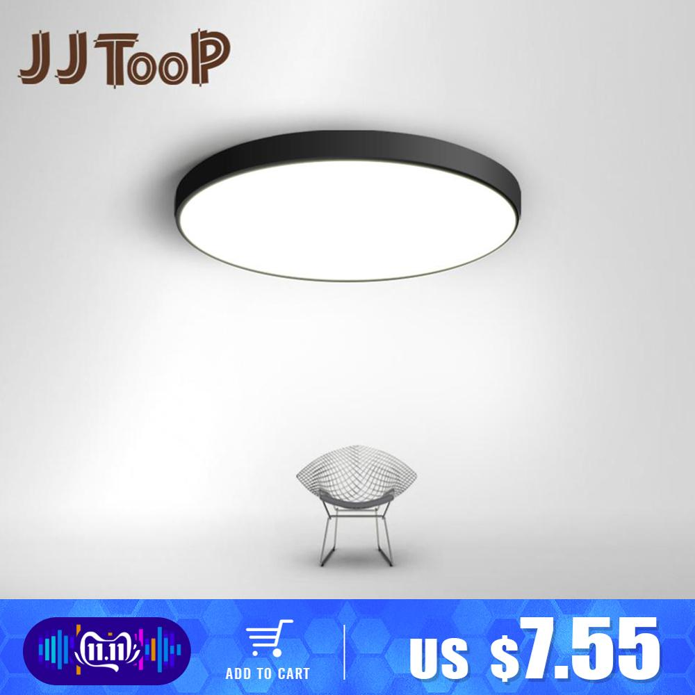 Led luz de teto ultra-fino 5 cm led mordern simples lâmpada preto branco quadrado redondo para sala de estar quarto foyer sala de jantar