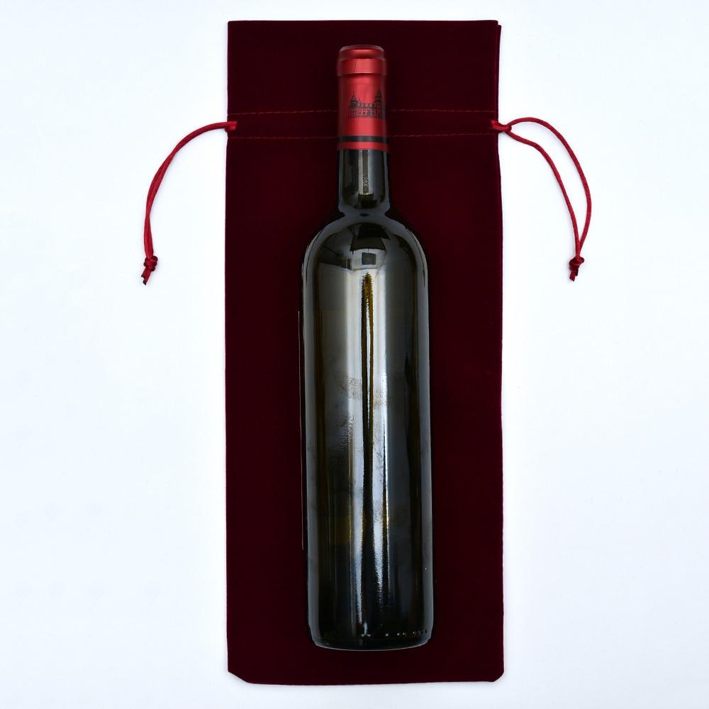 200 Pc 15X37 Cm Fluwelen Wijnfles Covers Flanel Wijn Fles Doek Champagne Blind Fles Wijn Cadeau Zakken wedding Party Groothandel - 4