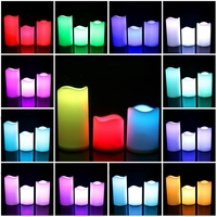 3Pcs Set LED Bunte Flammenlose Elektronische Kerzen Outdoor & Indoor Farbwechsel Kerzen Licht Mit Multi Funktion Timer R auf
