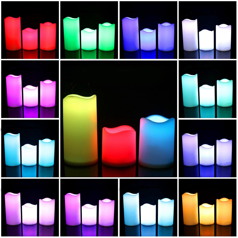 3Pcs Set LED Multicolored Flameless Electronic Candles Outdoor & Indoor Color Changing Candles Light With Multi-Function Timer R