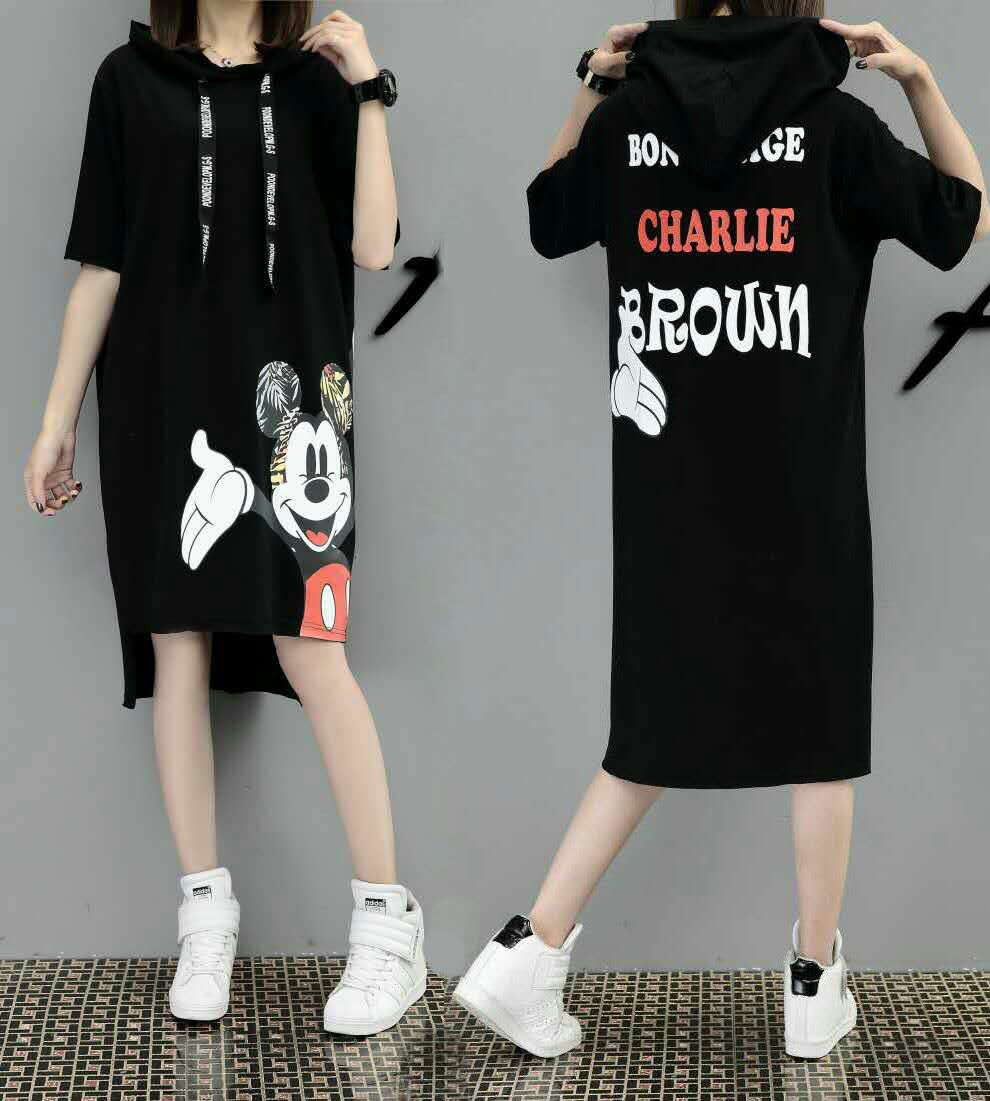H4c00bdffcc8346b290d29678d9b72759C - New Runway short sleeve Hooded Sweatshirt dress casual mickey cartoon printed women femme oversize dresses vestidos