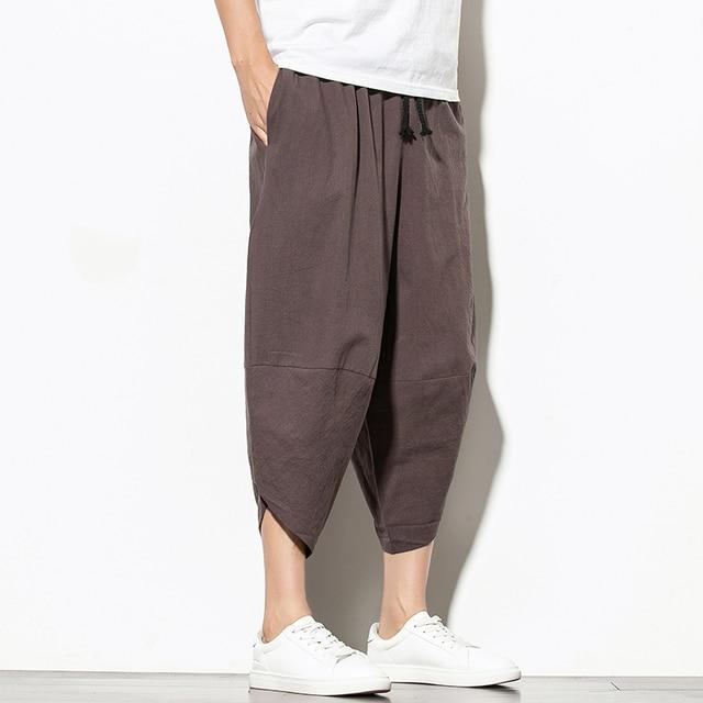 Dropshipping Summer Cotton Harem Pants Men Casual Hip Hop Trousers Cross Bloomers Calf-Length Pants Joggers Streetwear 3