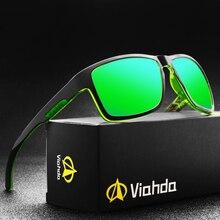 Viahda novo polarizado óculos de sol esporte outdor homem design da marca espelho de luxo óculos de sol para as mulheres moda motorista tons