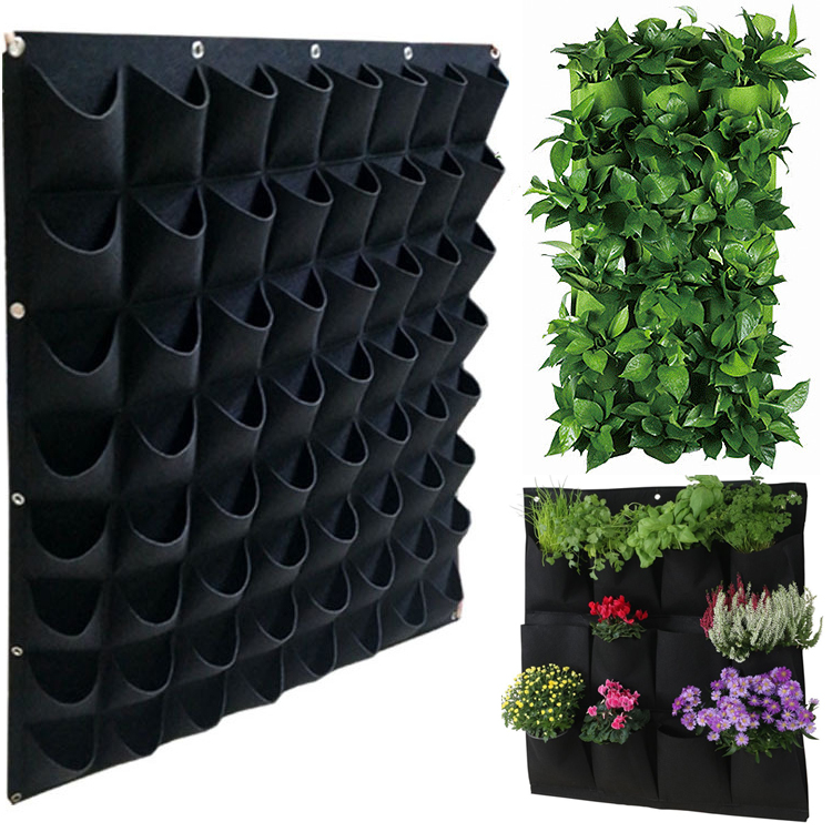 Wall-mounted Non-woven Felt Planting Bag Wall Green Black Vegetable Plant Hanging Grow Bag Cultivation Bags Garden Home Supplies
