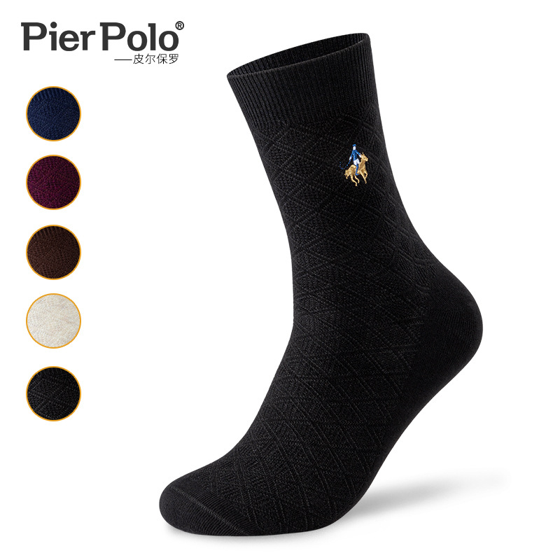 5 Pairs Brand New PIER POLO Homocentric Squar Socks Casual Business Crew Socks Autumn Winter Men's Socks Manufacturer Wholesale