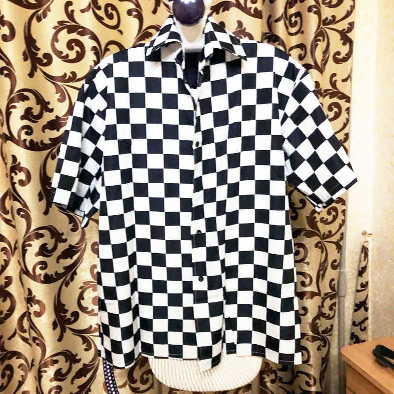 Koszule w stylu harajuku kobiety w stylu Vintage szachownica  k34x6
