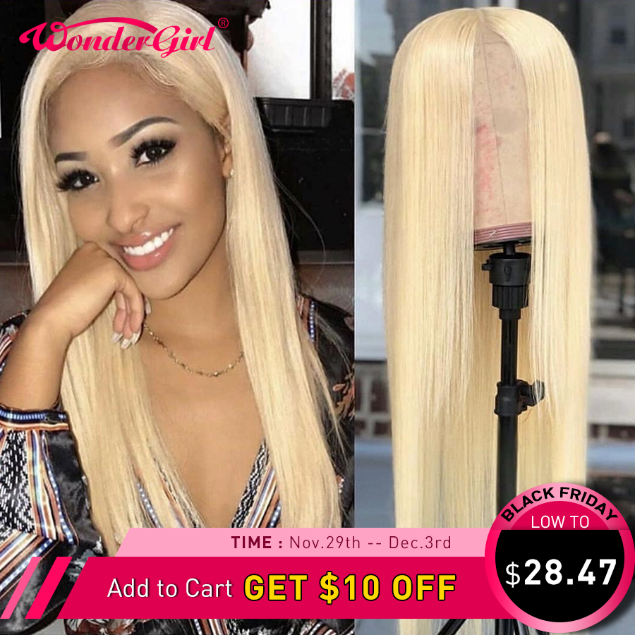Wonder girl 613 Lace Front Wig Straight Pre Plucked 13x4 Blonde Lace Front Human Hair Wigs Colored Brazilian Remy Lace Wig #1B image