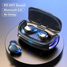Беспроводные наушники, спортивные водонепроницаемые TWS Bluetooth наушники 9D, Hi-Fi стереонаушники с басами, гарнитура с сенсорным управлением и ми...