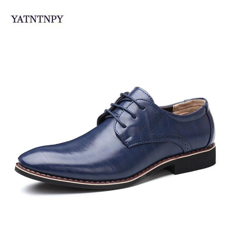 Hommes Oxfords chaussures en cuir britannique noir bleu chaussures à la main confortable robe formelle chaussures plates pour homme à lacets Bullock