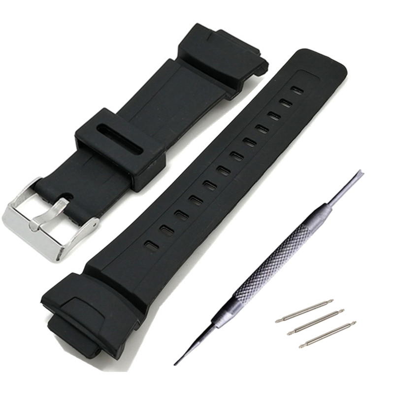26*16mm Silicone Watchband For G Shock GAW-100/GLX/GA-200/150/201/300/310/GAS-100 Black Replacement Band Strap Watch Accessories