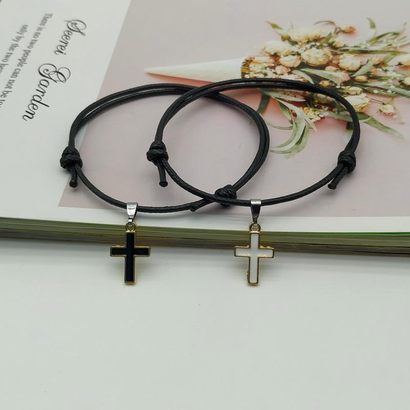 2 pcs/lot Cross Couple Bracelet New Fashion White Black Color Charm Bracelet Gift For Friend Lover Handmade Trendy Jewelry