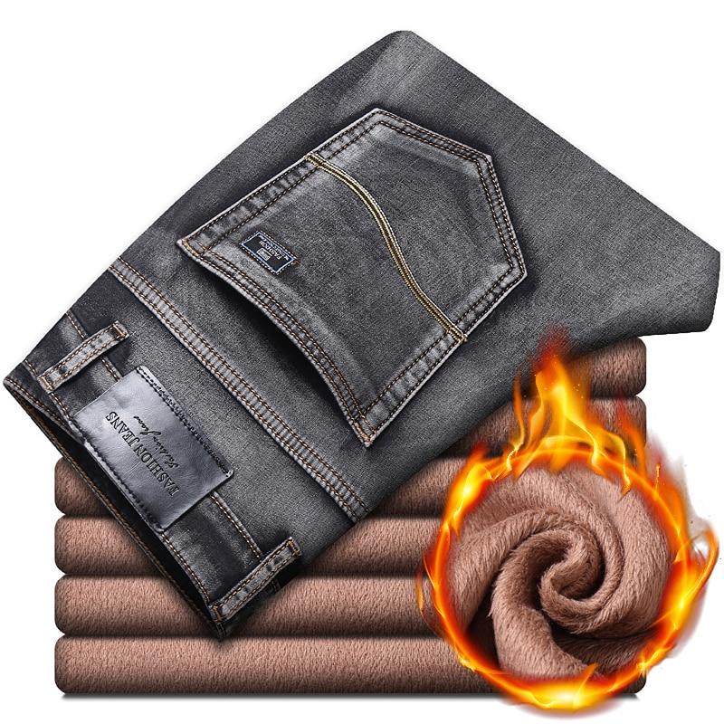 Зимние теплые мужские флисовые джинсы 2020 Классический Стиль Серые Хлопковые прямые Стрейчевые джинсовые плотные брюки мужские Брендовые брюки|Джинсы|   | АлиЭкспресс