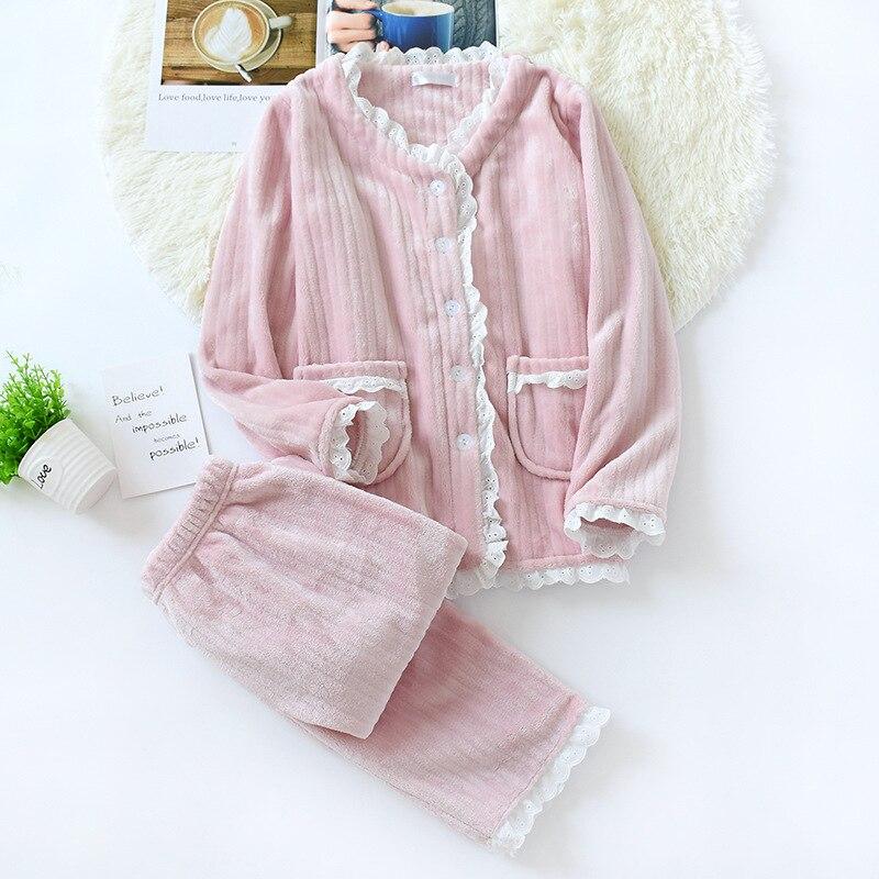 JULYS SONG New Fashion Warm Flannel Pajamas Set Women Winter Autumn Pajama Sleepwear Lace Pink  Pajamas Thick Warm SleepwearPajama Sets   -