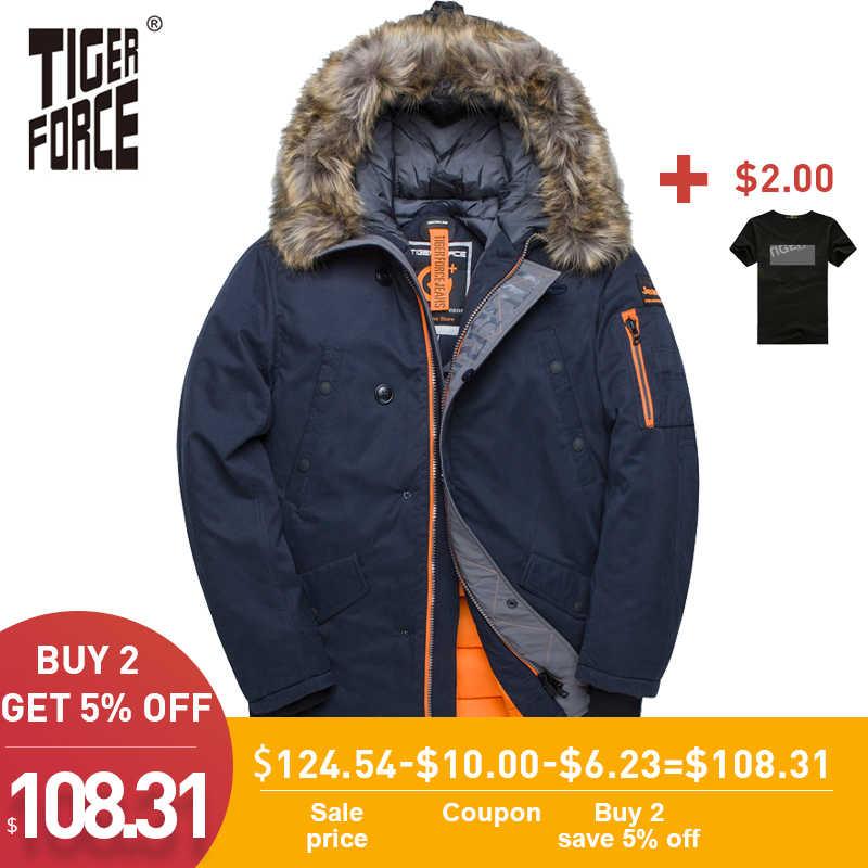 Tiger Kekuatan Jaket Musim Dingin Pria Empuk Jaket Rusia Pria Mantel Musim Dingin Bulu Buatan Saku Medium-Long Tebal Parka snowjacket