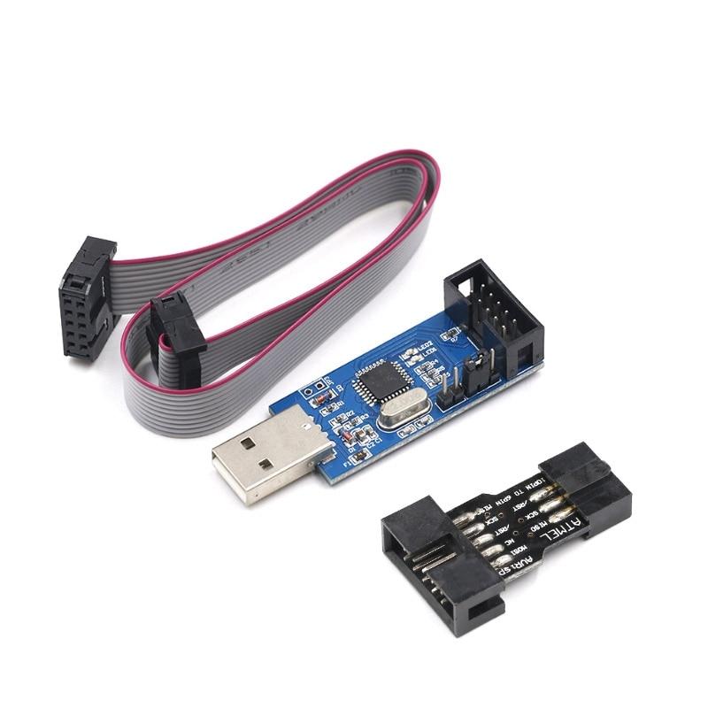 10Pin To 6 Pin Adapter Board + USBASP USBISP AVR Programmer USB ATMEGA8 ATMEGA128 ATtiny/CAN/PWM 10Pin Wire Module Arduino