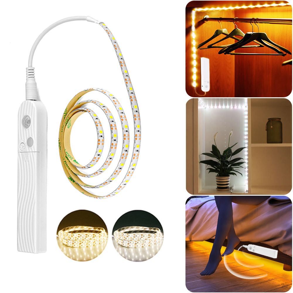 Smart <font><b>LED</b></font> <font><b>Strip</b></font> Lights PIR Motion Sensor Hallway 2 Modes DIY Makeup Lamp <font><b>Battery</b></font> <font><b>Operated</b></font> For Closet Drawer Wardrobe image