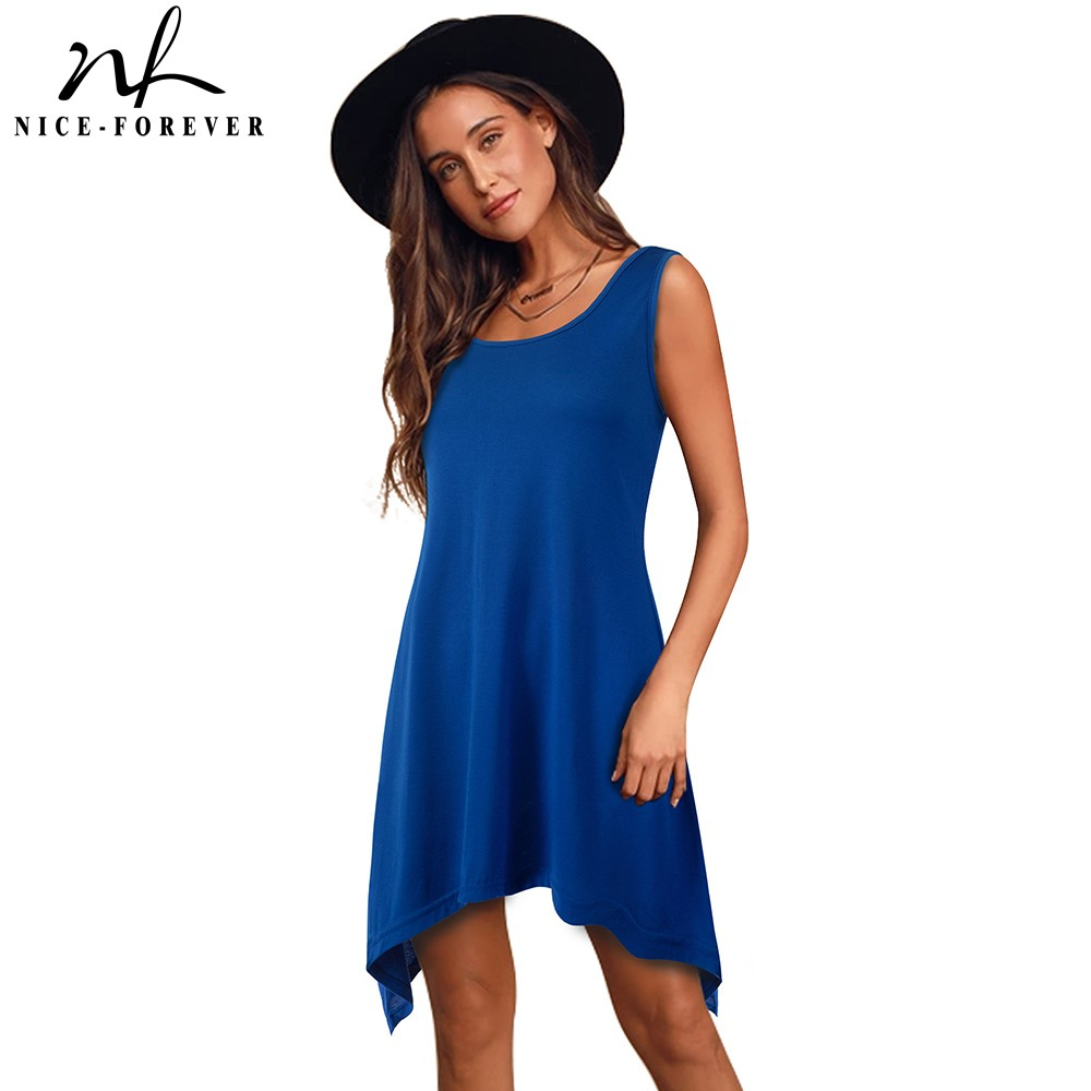 Nice-forever Casual Pure Color With Irregular Hem Dresses Loose Women Shift Summer Dress 413