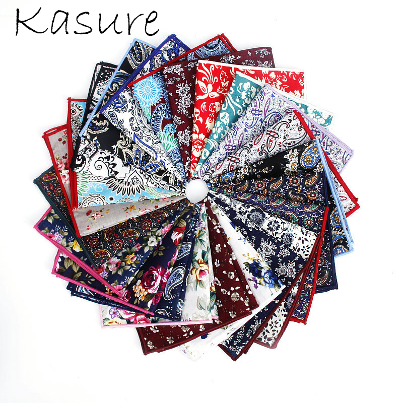 KASURE Fashion Floral Handkerchief Men's Cotton Pocket Square Paisley Hanky Business Towel Wedding Party Accessory Gentlemen