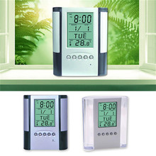 New ABS Multi-Functions Digital Desk Pen/Pencil Holder Display LCD Alarm Clock Thermometer & Calendar Home Decor Office School new abs multi functions digital desk pen pencil holder display lcd alarm clock thermometer