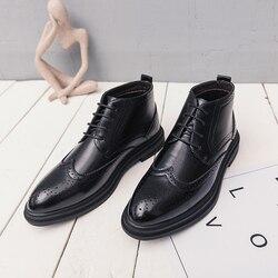 Męskie buty na co dzień luksusowe buty akcentem mężczyźni wiosna jesień brytyjski styl biznesowy do jeansów buty modne wysokie buty galowe