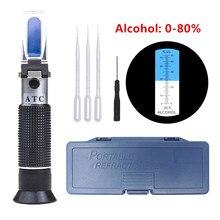 Refratômetro 0-80% de álcool, testador de bebidas com álcool
