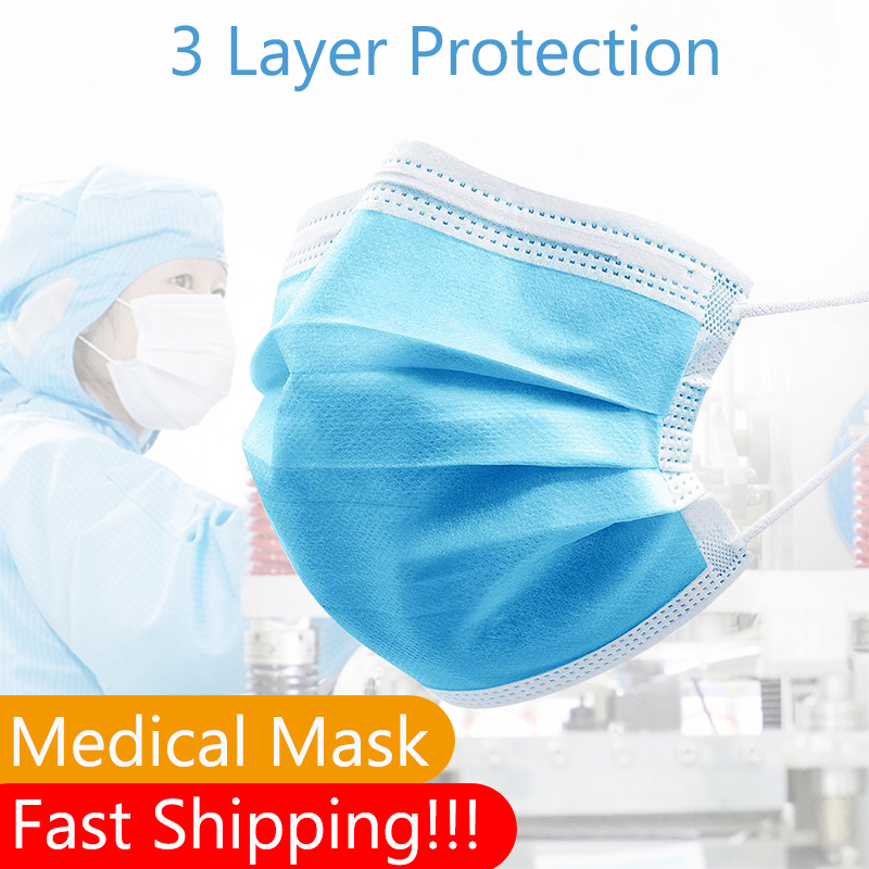 100/200 Pcs Disposable Medical 3 Layer Face Masks Anti-dust Anti Bacteria/Fog/Sand Melt-blow Surgical Mouth Masks Non-woven Mask