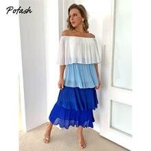 Pofash chiffon fora do ombro midi vestidos femininos em cascata plissado vestido de verão cor solta retalhos feminino vestidos casuais 2021