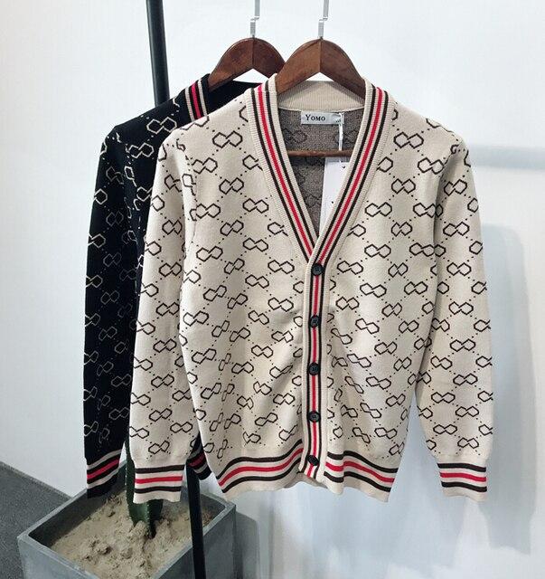 Sonbahar ve kış erkek jakarlı ve Fit up v yaka örme erkek moda trendi basit retro rahat kazak erkekler