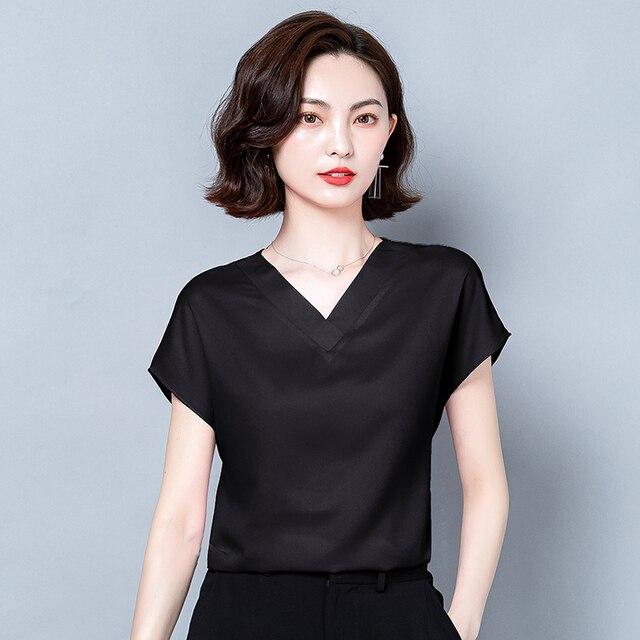 Korean Silk Women Blouses Tops Woman Satin Shirt Top Women Solid V Neck Blouse Lady Top Plus Size 4XL Blusas Femininas Elegante 4