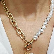 Necklace Jewelry Pendant Lock-Chains Irregular Pearl Geometric Aangel Women Punk Baroque