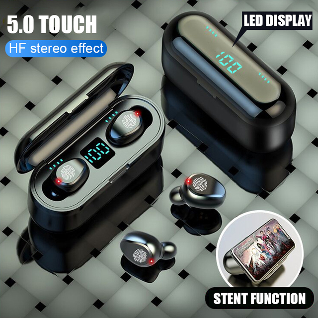 TWS V5.0 블루투스 이어폰 8D 스테레오 무선 헤드폰 스포츠 무선 이어폰 LED 2000 mAh 충전 빈 전화 홀더
