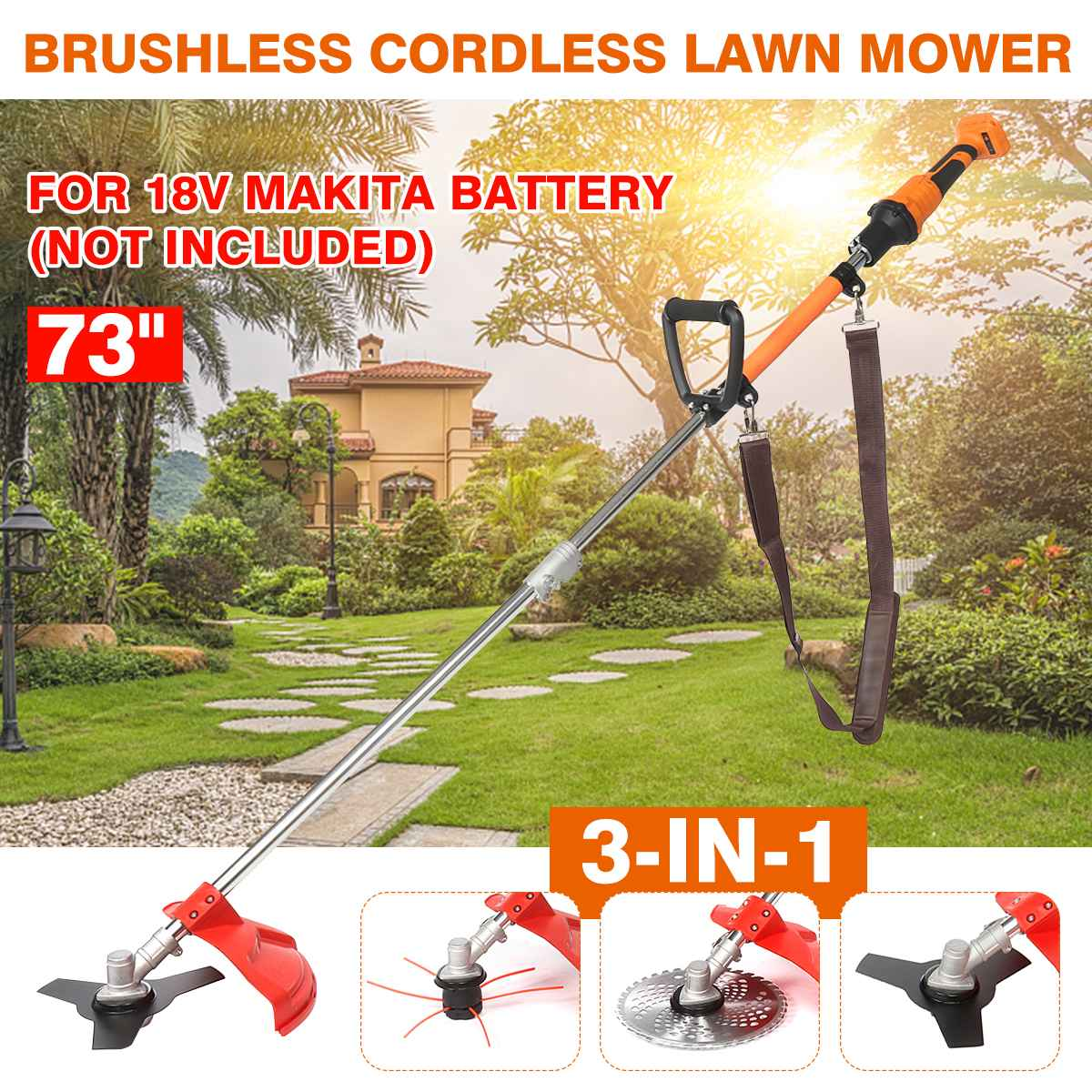 Trimmer Lawn MIN Mowerfor Adjust Cutter Speed 18V Backpack Pole 1 Grass 3 Brushless 73inch Battery Cordless Mower 3 7500R IN Makita