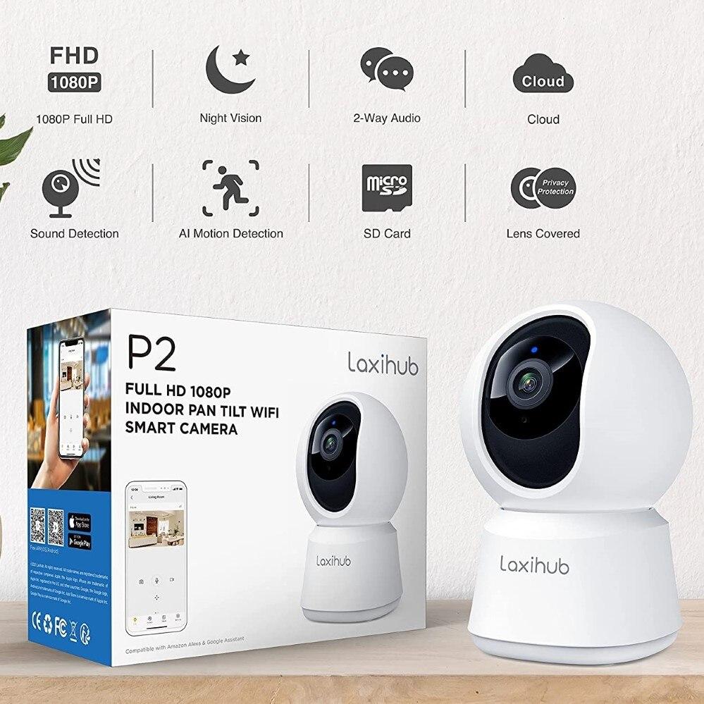 Мини-камера видеонаблюдения Laxihub, вебкамера PTZ 1080P с функцией ночного видения, видеоняня, Wi-Fi 2