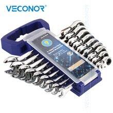 9 pçs chave de catraca conjunto de chaves chave de 72 dentes espelho polonês cabeça flexível rack plástico chave todos para ferramenta de reparo do carro catraca