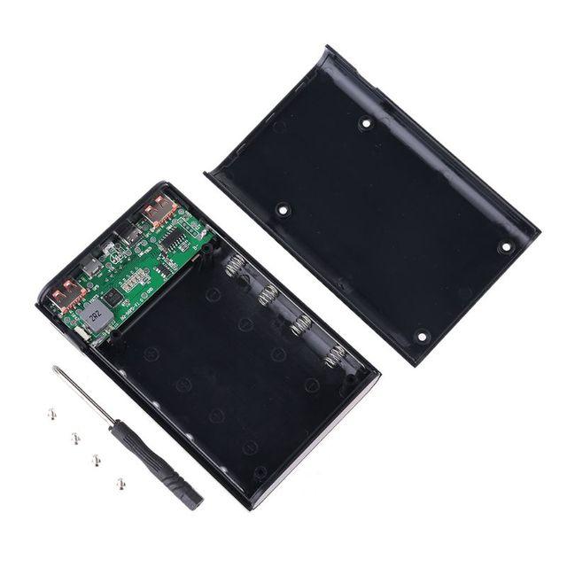 Qc3.0 usb tipo c pd 4x18650 bateria diy caixa de banco de potência led luz carregador rápido