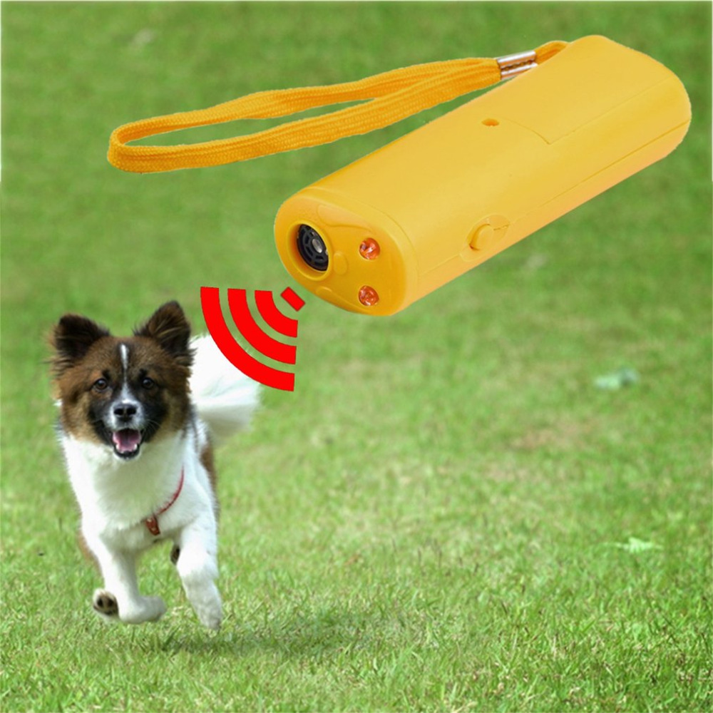 3 In 1 Anti Barking Stop Bark Ultrasonic Pet Dog Repeller Training Device Trainer With LED Wholesale Torch Flashlight