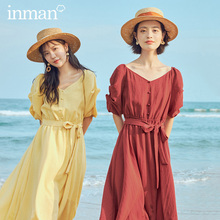 INMAN 2020 Summer New Arrival V-neck French Style Bow Nipped Waist Puff Short Sleeve Dress