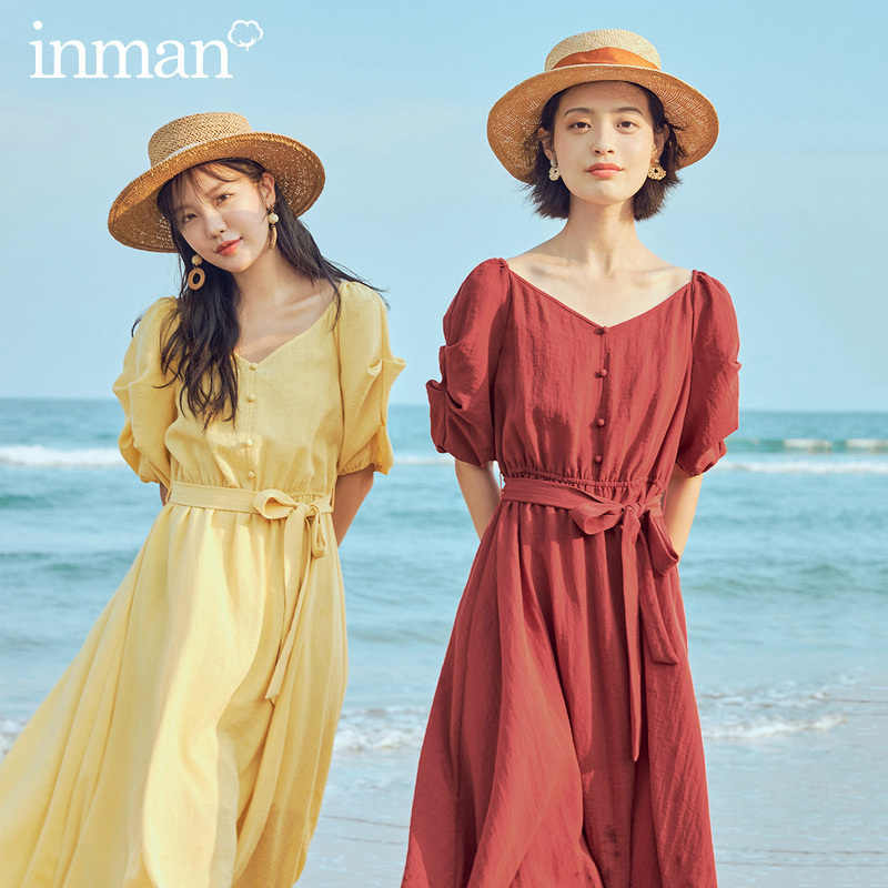 INMAN 2020 여름 신착 v 넥 프렌치 스타일 보우 허리 퍼프 반소매 원피스