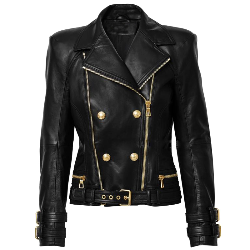 HIGH STREET 2020 New Designer Jacket Women's Lion Buttons Double Zippers Motorcycle Biker Synthetic Leather Jacket