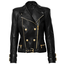Jacket Biker Motorcycle Lion-Buttons High-Street Women's New Zipper Synthetic Double