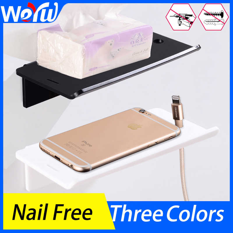 Bathroom Shelves Shower Storage Rack Plastic Black Bedroom Make Up Shelf Wall Mounted Mobile Phone Charging Holder Nail Free