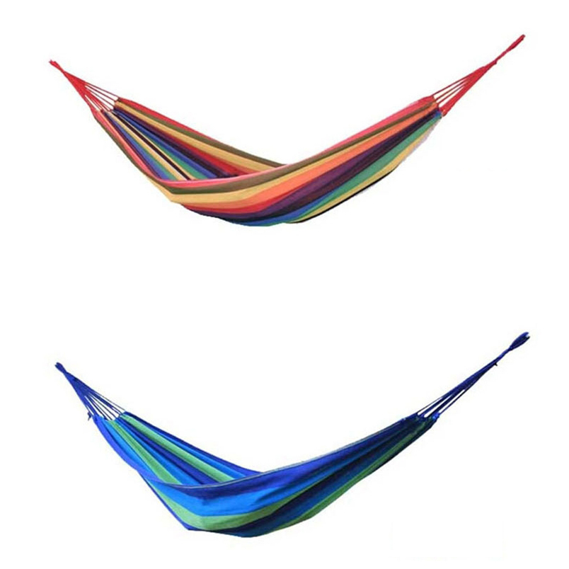 Portable Hammock Outdoor Leisure Rainbow Canvas Hammocks Ultralight Camping Hammock for Hiking, Camping, Climbing