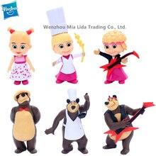 Hasbro MashaBear 6pcs/set Russian animated character model toys PVC Collectible Model