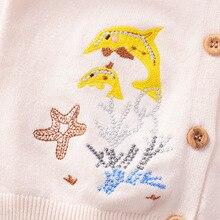 Свитер-кардиган для девочек коллекция года, осенне-зимний стильный однослойный кардиган средней и маленькой длины с вышивкой для малышей, свитер B